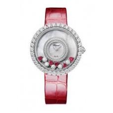 Réplica Chopard Happy Diamantes 18K Oro blanco Rubies & Diamantes Reloj de senoras