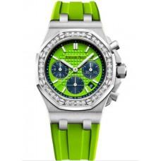 Réplica Audemars Piguet Royal Oak OffShore 26231 dama Cronografo Acero inoxidable verde Diamante Reloj