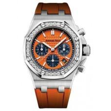 Réplica Audemars Piguet Royal Oak Offshore Selfwinding Cronografo Orange Index Diamante Acero inoxidable Rubber 37mm Reloj