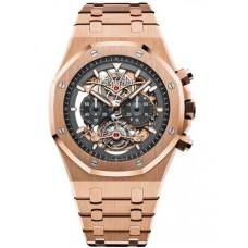 Réplica Audemars Piguet Royal Oak Tourbillon Cronografo Openworked Oro rosado Reloj