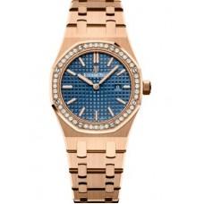 Réplica Audemars Piguet Royal Oak 67651 Quartz Oro rosado Azul Bracelet Reloj