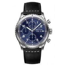Réplica Breitling Navitimer 8 Cronografo Azul Dial Leather Strap Reloj
