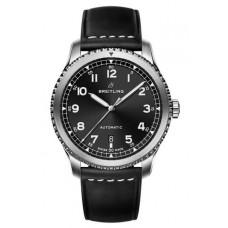 Réplica Breitling Navitimer 8 Automatico Negro Dial Leather Strap Reloj