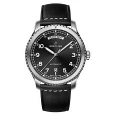 Réplica Breitling Navitimer 8 Day & Date Negro Dial Leather Strap Reloj