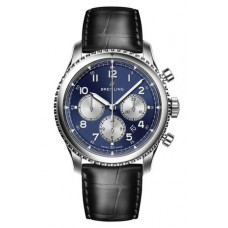 Réplica Breitling Navitimer 8 B01 Azul Dial and Leather Strap Reloj