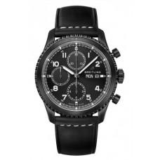 Réplica Breitling Navitimer 8 Cronografo NegroAcero Negro Dial Leather Strap Reloj