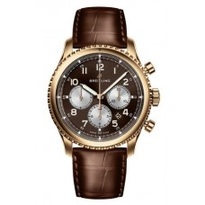 Réplica Breitling Navitimer 8 B01 18ct Red oro/Bronze Dial Leather Strap Reloj