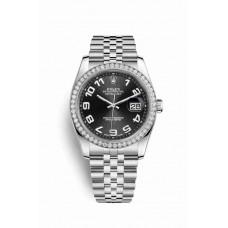 Réplica Rolex Datejust 36 Blanco Rolesor OysterAcero Oro blanco 116244 Negro Dial Reloj