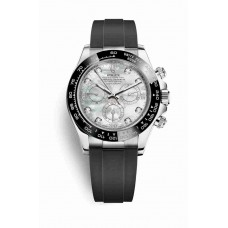 Réplica Rolex Cosmograph Daytona Oro blanco 116519LN Blanco mother-of-pearl Diamantes Dial Reloj