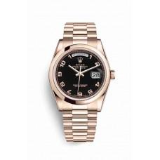 Réplica Rolex Day-Date 36 Everose oro 118205 Negro Dial Reloj