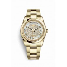Réplica Rolex Day-Date 36 oro amarillo 118208 Blanco mother-of-pearl Diamante paved Dial Reloj