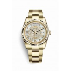 Réplica Rolex Day-Date 36 oro amarillo 118238 Blanco mother-of-pearl Diamante paved Dial Reloj