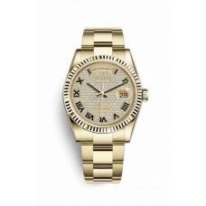 Réplica Rolex Day-Date 36 oro amarillo 118238 Diamante-paved Dial Reloj