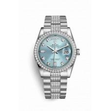 Réplica Rolex Day-Date 36 Platinum 118346 Ice Azul Diamantes Dial Reloj