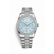 Réplica Rolex Day-Date 36 Platinum 118346 Ice Azul Jubilee Diamantes Dial Reloj