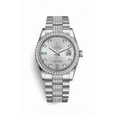 Réplica Rolex Day-Date 36 Platinum 118346 Rhodium Diamantes emeralds Dial Reloj