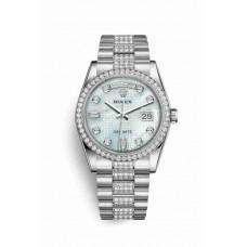 Réplica Rolex Day-Date 36 Platinum 118346 Platinum mother-of-pearl oxford motif Diamantes Dial Reloj