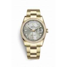 Réplica Rolex Day-Date 36 oro amarillo 118348 plata Diamantes Dial Reloj