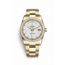 Réplica Rolex Day-Date 36 oro amarillo 118348 Blanco Dial Reloj