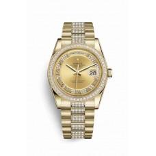 Réplica Rolex Day-Date 36 oro amarillo 118348 Champagne-colour Diamantes Dial Reloj