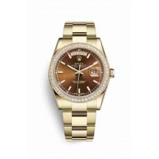 Réplica Rolex Day-Date 36 oro amarillo 118348 Cognac Dial Reloj