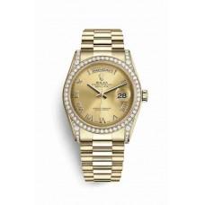 Réplica Rolex Day-Date 36 oro amarillo lugs Diamantes 118388 Champagne-colour Dial Reloj