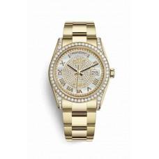 Réplica Rolex Day-Date 36 oro amarillo lugs Diamantes 118388 Blanco mother-of-pearl Diamante paved Dial Reloj