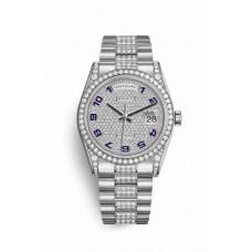 Réplica Rolex Day-Date 36 Oro blanco lugs Diamantes 118389 Diamante-paved Dial Reloj