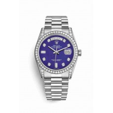 Réplica Rolex Day-Date 36 Oro blanco lugs Diamantes 118389 Lapis Lazuli Diamantes Dial Reloj