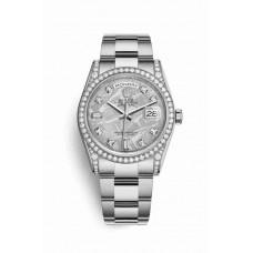 Réplica Rolex Day-Date 36 Oro blanco lugs Diamantes 118389 Meteorite Diamantes Dial Reloj