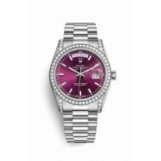 Réplica Rolex Day-Date 36 Oro blanco lugs Diamantes 118389 Cherry Dial Reloj
