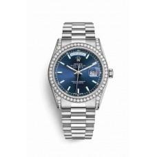 Réplica Rolex Day-Date 36 Oro blanco lugs Diamantes 118389 Azul Dial Reloj