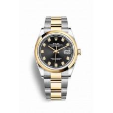 Réplica Rolex Datejust 36 Rolesor Oyster Acero oro amarillo 126203 Negro Diamantes Dial Reloj