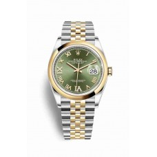 Réplica Rolex Datejust 36 Rolesor Oyster Acero oro amarillo 126203 Olive verde Diamantes Dial Reloj