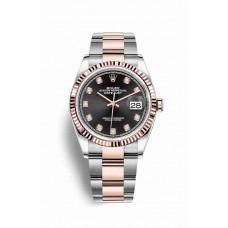 Réplica Rolex Datejust 36 Everose Rolesor OysterAcero Everose oro 126231 Negro Diamantes Dial Reloj