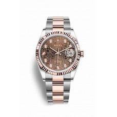 Réplica Rolex Datejust 36 Everose Rolesor OysterAcero Everose oro 126231 Chocolate Jubilee Diamantes Dial Reloj