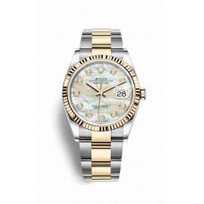 Réplica Rolex Datejust 36 Rolesor Oyster Acero oro amarillo 126233 Blanco mother-of-pearl Diamantes Dial Reloj