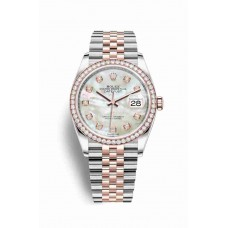 Réplica Rolex Datejust 36 Everose Rolesor OysterAcero Everose oro 126281RBR Blanco mother-of-pearl Diamantes Dial Reloj