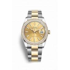 Réplica Rolex Datejust 36 Rolesor Oyster Acero oro amarillo 126283RBR Champagne-colour Dial Reloj