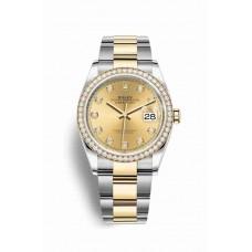 Réplica Rolex Datejust 36 Rolesor Oyster Acero oro amarillo 126283RBR Champagne-colour Diamantes Dial Reloj