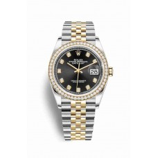 Réplica Rolex Datejust 36 Rolesor Oyster Acero oro amarillo 126283RBR Negro Diamantes Dial Reloj