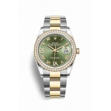 Réplica Rolex Datejust 36 Rolesor Oyster Acero oro amarillo 126283RBR Olive verde Diamantes Dial Reloj