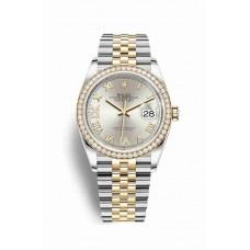Réplica Rolex Datejust 36 Rolesor Oyster Acero oro amarillo 126283RBR plata Diamantes Dial Reloj