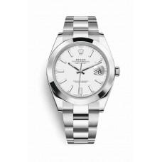Réplica Rolex Datejust 41 OysterAcero 126300 Blanco Dial Reloj