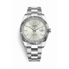 Réplica Rolex Datejust 41 Blanco Rolesor OysterAcero Oro blanco 126334 plata Dial Reloj