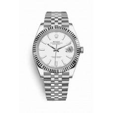 Réplica Rolex Datejust 41 Blanco Rolesor OysterAcero Oro blanco 126334 Blanco Dial Reloj
