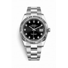 Réplica Rolex Datejust 41 Blanco Rolesor Oystersteel Oro blanco 126334 Negro Diamantes Dial Reloj