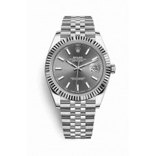 Réplica Rolex Datejust 41 Blanco Rolesor OysterAcero Oro blanco 126334 Rodio oscuro Dial Reloj