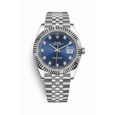 Réplica Rolex Datejust 41 Blanco Rolesor OysterAcero Oro blanco 126334 Azul Diamantes Dial Reloj