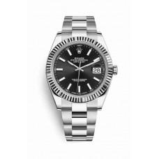 Réplica Rolex Datejust 41 Blanco Rolesor OysterAcero Oro blanco 126334 Negro Dial Reloj